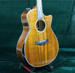 Luxury Acoustic Guitar ALL Solid AAA Koa Top Back Side Real Abalone Inlay Ebony