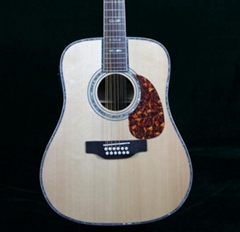 Grand D Style 12 Strings Electric Acoustic Guitar Solid Spruce With Fishman