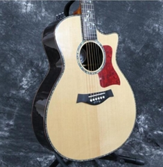 Solid AAA SPruce Real Abalone Inlay Earl Style Electric Acoustic Guitar
