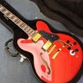 Hollow body jazz electric guitar, Double F holes Red body and back electric guit