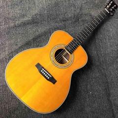 Custom Aaaaa All Solid Spruce Wood Om Jm Handmade 14 Frets Acoustic Guitar Fishb