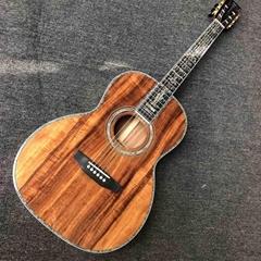 Custom 39 Inch Round Koa Wood Acoustic Guitar Real Abalone Inlays