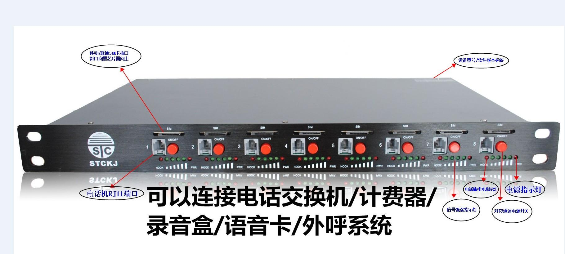 顺天昌黑色铝合金面板八路GSM无线固话 2