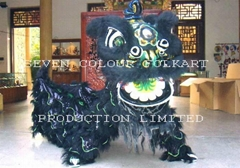 Chinese traditional lion head and costume for lion dance