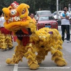 Yellow wool Lion dance set