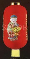 Cloth Hanging Slim Long Shape Lantern with Golden Children