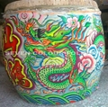 Drum with dragon painting