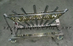 Stainless steel cart for banner and flags