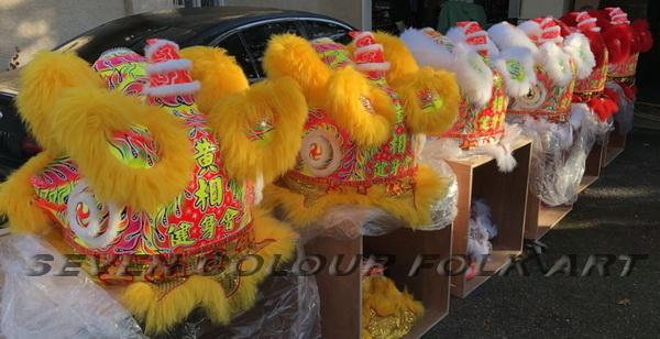 Foshan lion with red wool 3