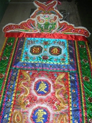Ceremonial embroidered banner for religion ceremony, lion dance, dragon boat