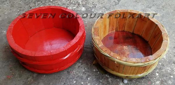 Wooden bucket for lion dancing 3