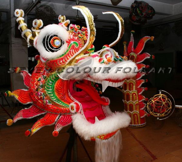 Chinese Guangdong Dragon head, tail and costumes set 1
