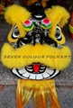 Beautiful black and white painting lion head with red/yellow wool