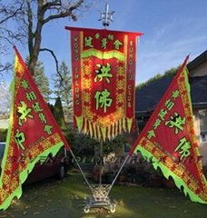 Sewed banner and flags set for lion dance club