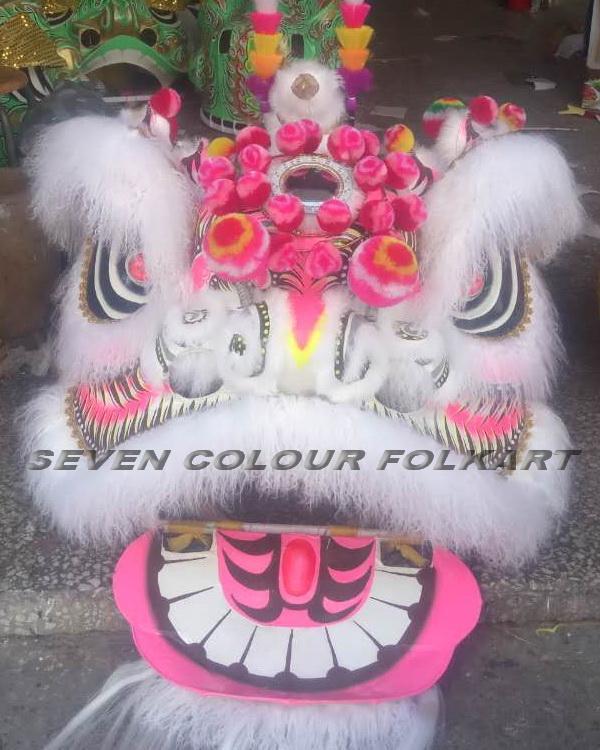 Hong Kong Style Ram Fur White Pink Lion