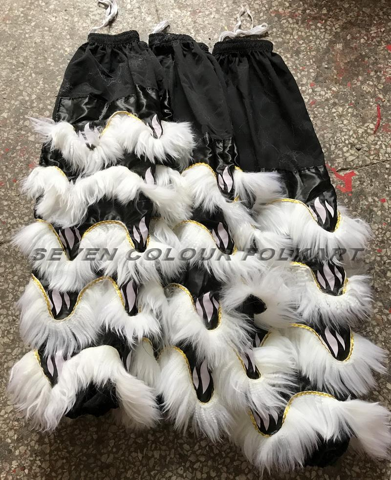 Tail and pants with black satin fabric and white wool 1