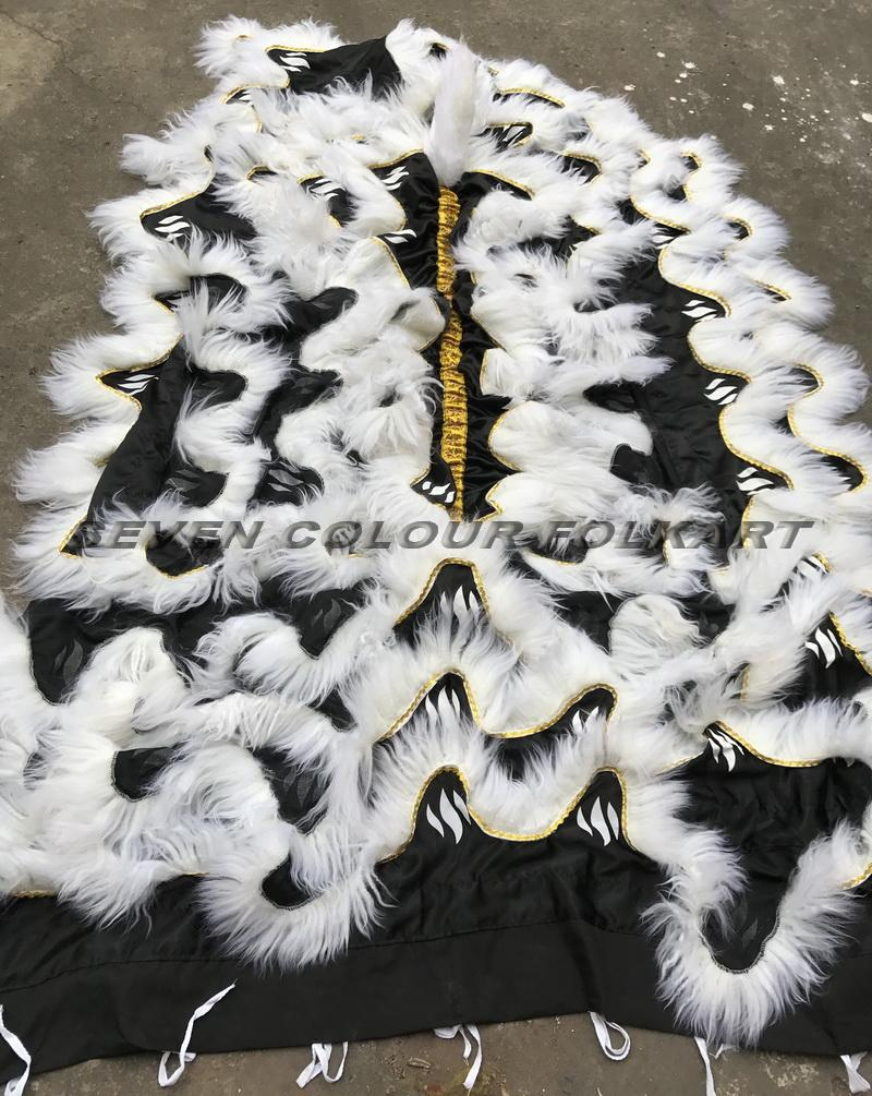 Tail and pants with black satin fabric and white wool 2