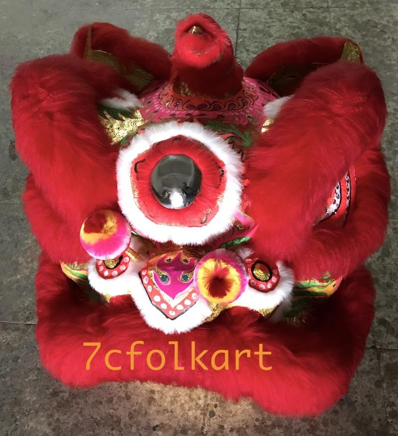 Size #5 for kids lion dancing Futsan sytle lion head with red wool 1