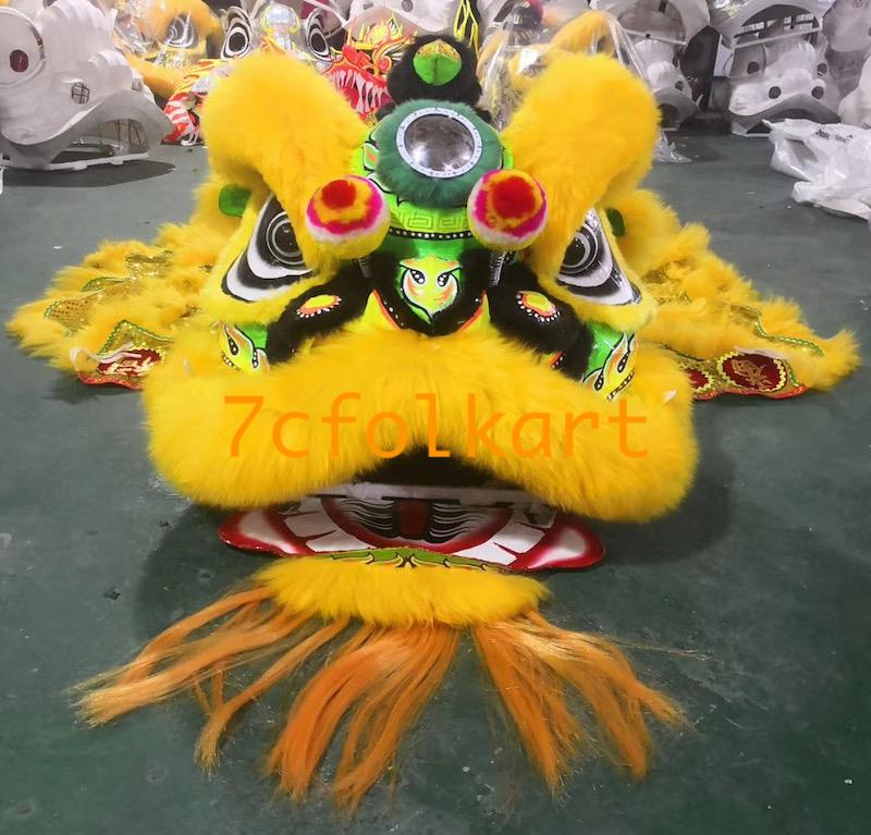 Futsan lion set with lion head, lion tail and lion pants in golden yellow color 2