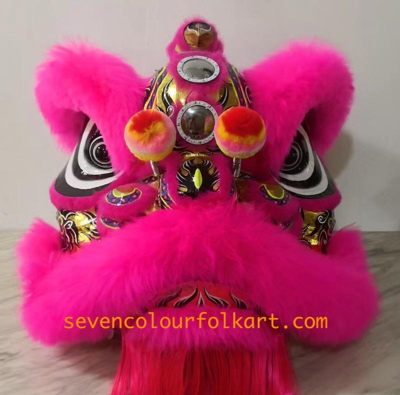 Pink and gold futsan style lion head with wool 1