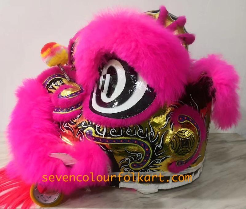 Pink and gold futsan style lion head with wool 2