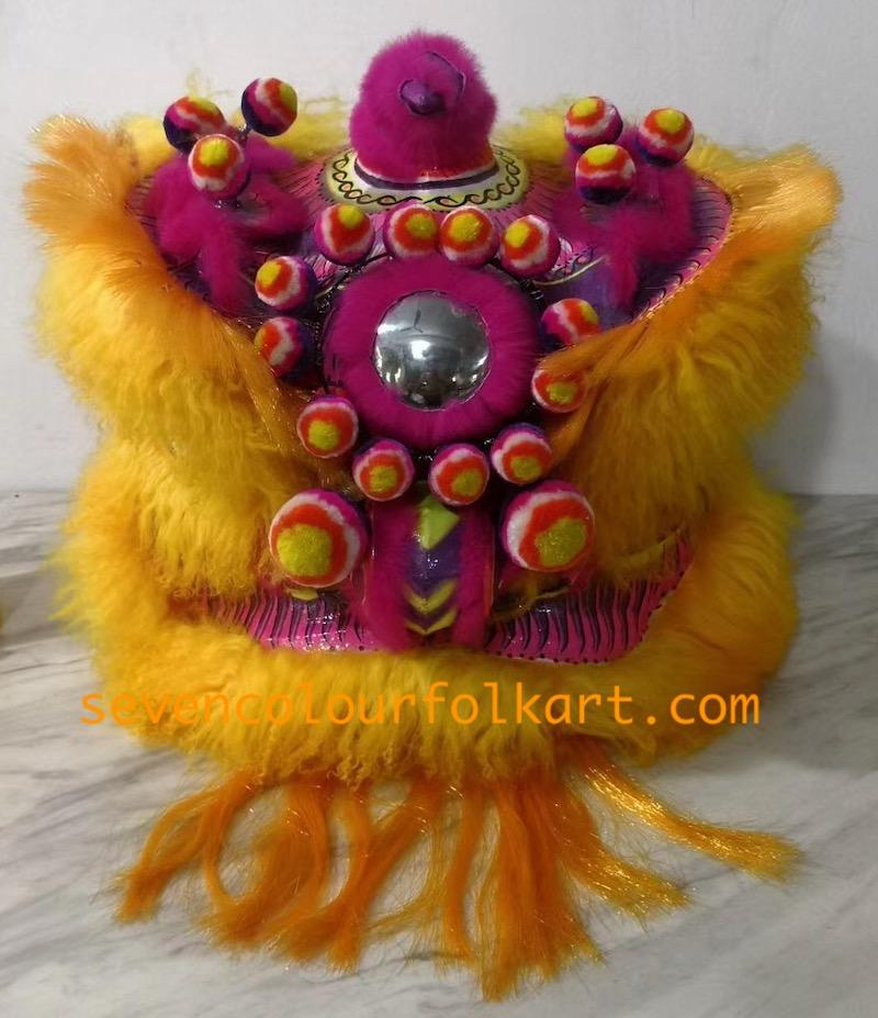 Gold and pink ram fur futsan lion head 1