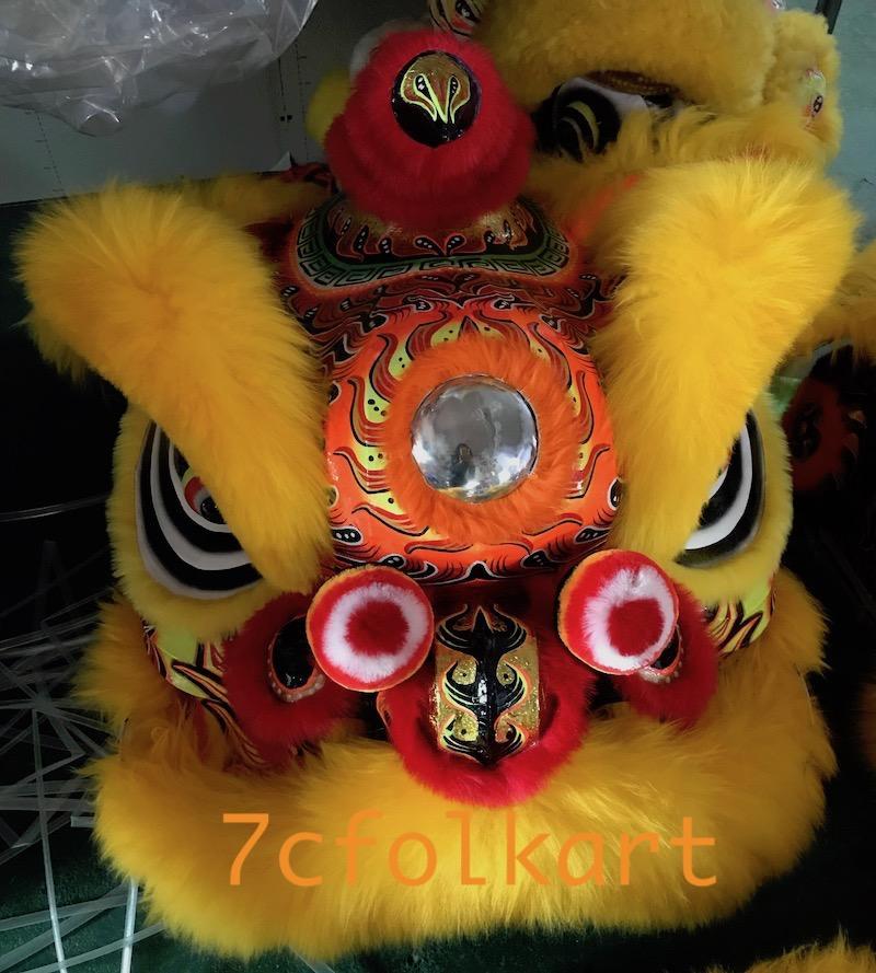 Gold-yellow sheep fur futsan style lion heads 6