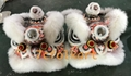 White fur futsan style twins lion heads with LED lights