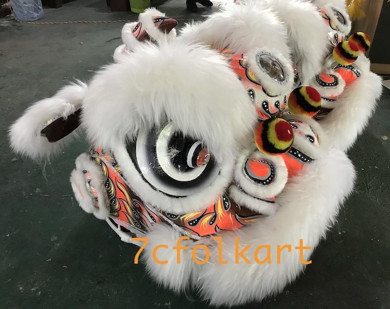 White fur futsan style twins lion heads with LED lights 2