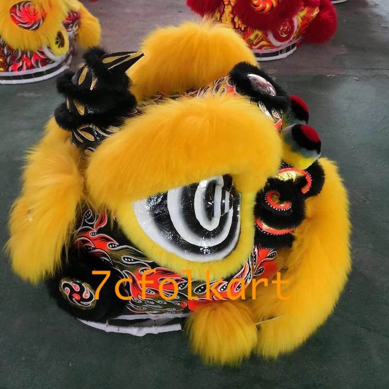 Gold-yellow sheep fur futsan style lion heads 2