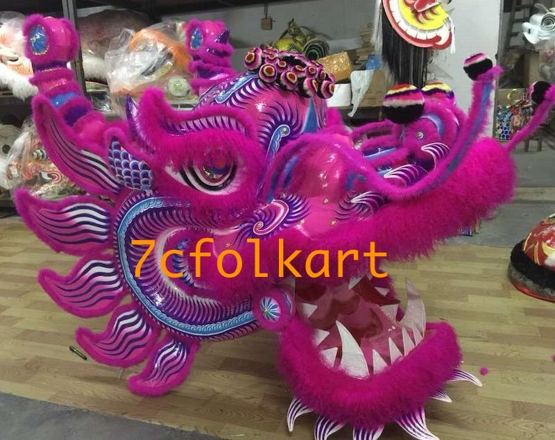 Chinse southern dragon head with purple base and pink fur 1