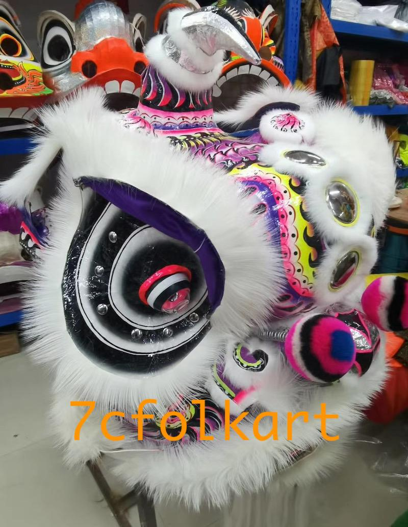 Lo fu chi lion heads with wolf fur 5