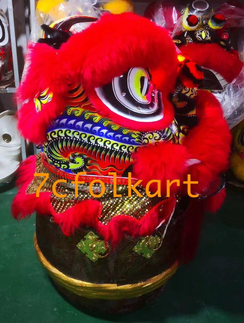 Red fur Law Fu Chi lion head with LED 2