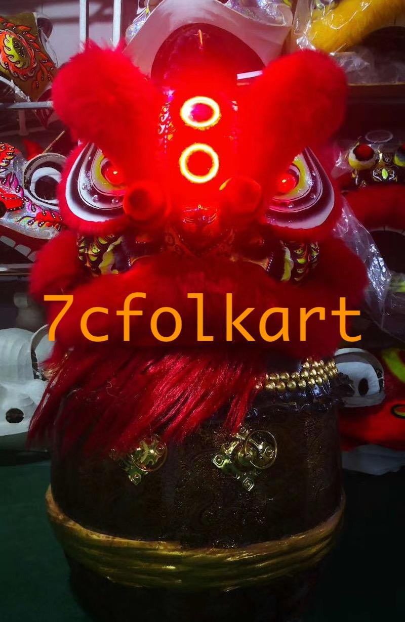 Red fur Law Fu Chi lion head with LED 1
