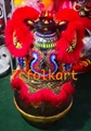 Red fur Law Fu Chi lion head with LED 3
