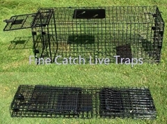 Folding cage traps for animal handling