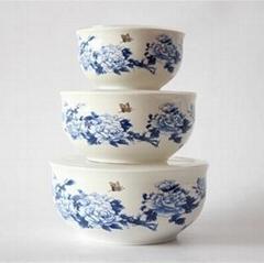 新品中国风青花陶瓷保鲜碗三件套