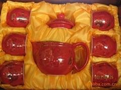 7头红双喜双层杯精品陶瓷茶具