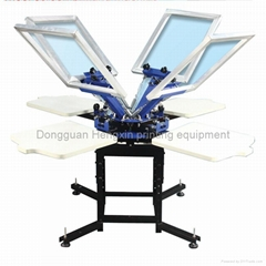 4 color 4 station manual T-shirt screen printing machine