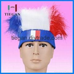 france sports fan wig with headband