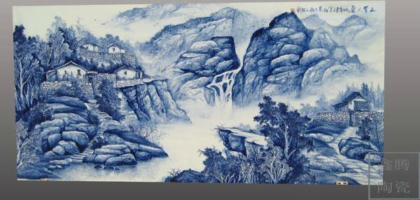 手工畫青花瓷板畫 1