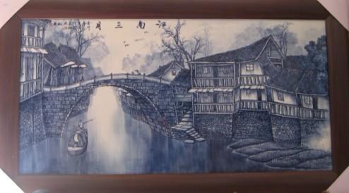手工畫青花瓷板畫 4