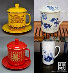 中國紅瓷茶杯