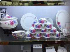 景德镇56头青花玲珑餐具