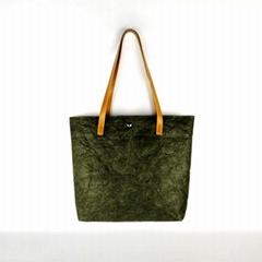 水洗纯色杜邦纸手提袋 环保可折叠购物袋 便携式简约休闲杜邦纸袋