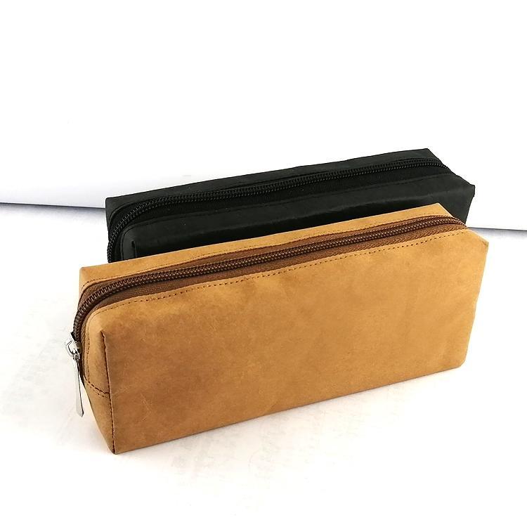 水洗牛皮紙筆袋 純色環保文藝鉛筆袋  旅行化妝袋收納袋 可印logo 3