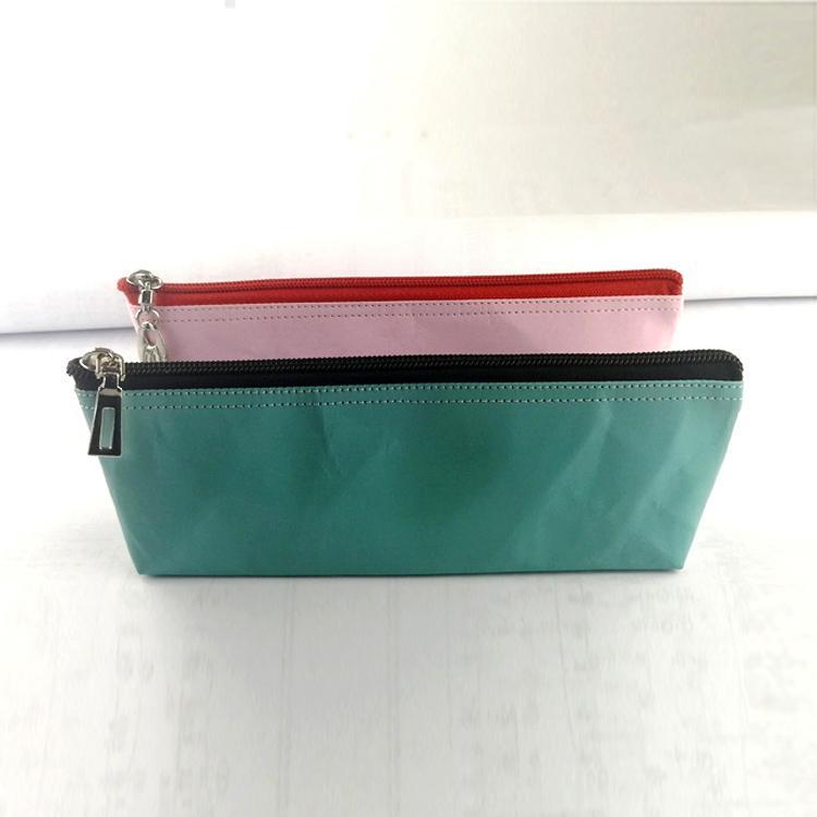水洗牛皮纸笔袋 多功能文具用品收纳袋 简约防水纯色笔袋可印logo 3