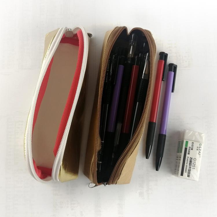 牛皮紙筆袋 環保耐用金色文具鉛筆袋 純色簡約化妝收納袋可印logo 4