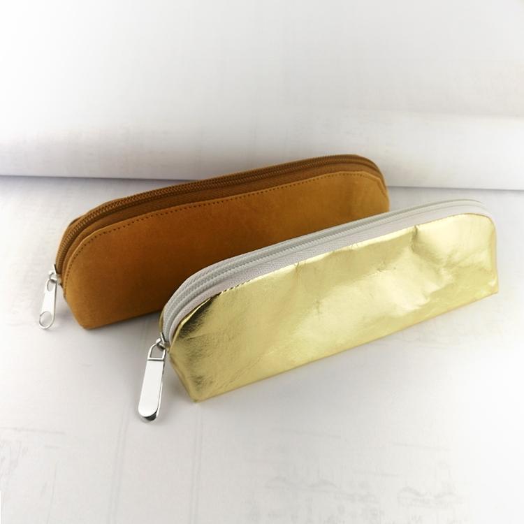 牛皮紙筆袋 環保耐用金色文具鉛筆袋 純色簡約化妝收納袋可印logo 3