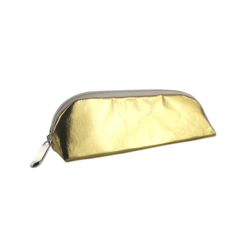 牛皮纸笔袋 环保耐用金色文具铅笔袋 纯色简约化妆收纳袋可印logo 5